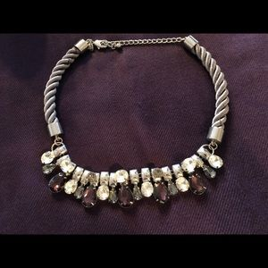 Chico's Silver & Eggplant Bling Necklace EUC!!